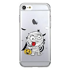 Недорогие Кейсы для iPhone-Кейс для Назначение Apple iPhone 7 Plus iPhone 7 Прозрачный С узором Кейс на заднюю панель Halloween Мягкий ТПУ для iPhone 7 Plus iPhone