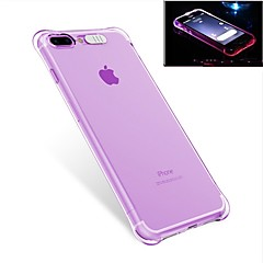 billige Etuier til iPhone 7-Etui Til Apple iPhone 7 Plus iPhone 7 Stødsikker Blinkende LED-lys Bagcover Helfarve Blødt TPU for iPhone 7 Plus iPhone 7 iPhone 6s Plus