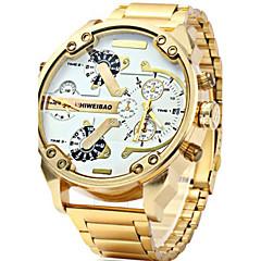 お買い得  メンズ腕時計-男性用 軍用腕時計 カレンダー クリエイティブ 2タイムゾーン ステンレス バンド ハンズ チャーム ぜいたく カジュアル ブラック / ゴールド - 黒とゴールド ブラック / ブルー ホワイト / ゴールド 1年間 電池寿命 / 大きめ文字盤