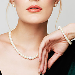 cheap Women's Jewelry-Women's Pearl Jewelry Set / Chain Bracelet / Strands Necklace - Pearl, Imitation Diamond Fashion, Elegant, Bridal White Necklace For Wedding, Party, Daily / Pearl Necklace / Earrings