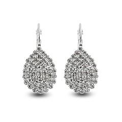 preiswerte Ohrringe-Damen Synthetischer Diamant Tropfen-Ohrringe - Diamantimitate Blattform, Tropfen Personalisiert, Luxus, Klassisch Weiß Für Weihnachten Hochzeit Geburtstag