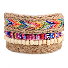 Heren Dames Strand Armbanden Wikkelarmbanden Modieus Bohemia Style Verstelbaar PERSGepersonaliseerd Doe-het-zelf Hout Ronde vorm