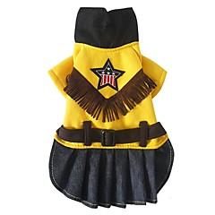 tanie Ubranka i akcesoria dla psów-Pies Kombinezon Ubrania dla psów Kowboj W stylu brytyjskim Yellow Kostium Dla zwierząt domowych
