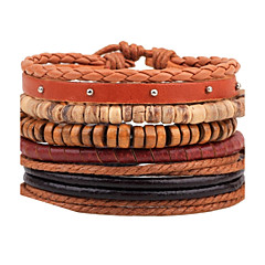 Men's Leather Bracelet Strand Bracelet Wrap Bracelet Handmade Fashion Adjustable Personalized DIY Leather Wood Round Jewelry For Casual