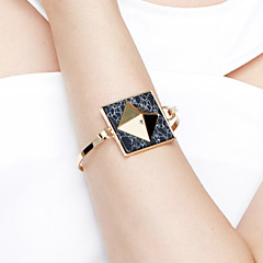 Women's Bangles Jewelry Friendship Fashion Movie Jewelry Hypoallergenic Brass Gold Plated Alloy Square Jewelry For Anniversary