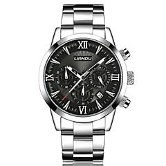 preiswerte Herrenuhren-Herrn Quartz Armbanduhr Armbanduhren für den Alltag Edelstahl Band Freizeit Modisch Schwarz Weiß Silber