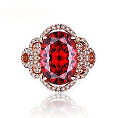 Mulheres Anéis Grossos Ruby Sintético Vintage Jóias de Luxo Elegant Ouro Rose Formato de Flor Jóias Para Casamento Noivado Cerimônia