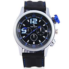 preiswerte Herrenuhren-V6 Herrn Sportuhr / Armbanduhr Chinesisch Stopuhr / Cool / Großes Ziffernblatt Silikon Band Freizeit / Modisch Schwarz