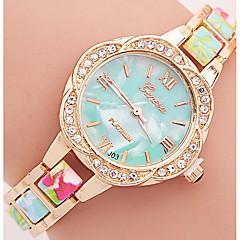 preiswerte Damenuhren-Geneva Damen Quartz Armband-Uhr Strass Mehrfarbig Plastic Band Blume Freizeit Modisch Schwarz Blau Rot Braun Grün Rosa Lila Gelb