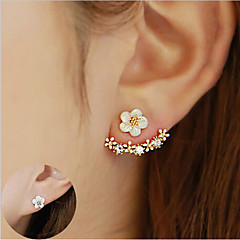 cheap Women's Jewelry-Women's Crystal Stud Earrings Front Back Earrings / Ear Jacket - Sterling Silver, Crystal, S925 Sterling Silver Flower, Daisy Elegant Gold / Silver / Rose Gold For Christmas Wedding Party / Birthday