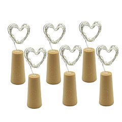 6Pcs 12M (2 * 6) 2 Meters 20 Lights Cork-Shaped LED String Lights Battery-Powered Bottles Copper Strip Lights Christmas Wedding Party Decorations