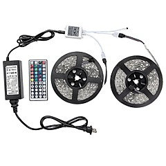 1 Set Led Light Strip Kit Waterproof 72W 5050 10M(2*5M) 600leds RGB 60leds/m with 44key Ir Controller and 6A Power Supply(UL) AC100-240V