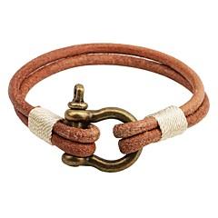 Herre Dame Læder Armbånd Vintage Personaliseret Læder Legering Rund form Knap Smykker Til Afslappet I-byen-tøj