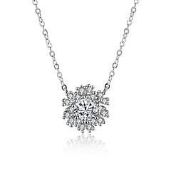 voordelige -Dames Bloem Modieus Hypoallergeen Choker kettingen Hangertjes ketting Kubieke Zirkonia Synthetische Diamant Sterling zilver Zirkonia