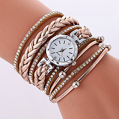 preiswerte Damenuhren-Damen Armband-Uhr Armbanduhren für den Alltag / Cool PU Band Freizeit / Modisch Schwarz / Weiß / Beige