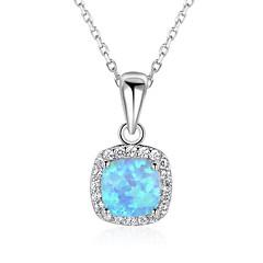 cheap Necklaces-Women's Square Chrismas Pendant Necklace Synthetic Opal Sterling Silver Pendant Necklace , Gift Valentine