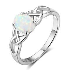 tanie -Damskie Obrączki Syntetyczny Opal Modny Srebro standardowe Geometric Shape Biżuteria Na Urodziny