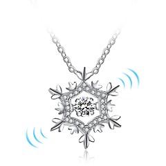 Γυναικεία Κρεμαστά Κολιέ Νιφάδα χιονιού Ασήμι Στερλίνας Chrismas Κοσμήματα Για Χριστούγεννα