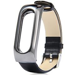 billige Urremme-læder armbåndsarmbånd armbånds tilbehør med metalramme til xiaomi mi band 2 smart watch miband (leathe black)