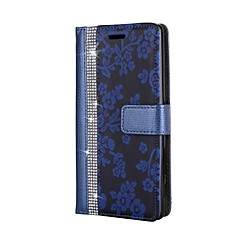For Case Cover Card Holder Wallet Rhinestone with Stand Flip Full Body Case Flower Hard PU Leather for Sony Sony Xperia XZ Sony Xperia XZ
