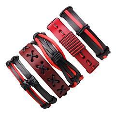 preiswerte -Herrn Damen Wickelarmbänder Lederarmbänder Böhmen-Art Handgemacht Leder Runde Form Schmuck Für Ausgehen
