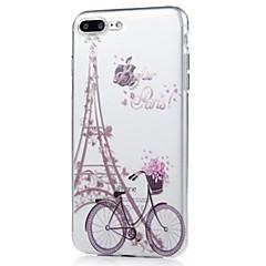 Kompatibilitás iPhone X iPhone 8 tokok Ultra-vékeny Minta Hátlap Case Eiffel torony Puha Hőre lágyuló poliuretán mert Apple iPhone X