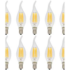 preiswerte LED-Birnen-10 Stück 6W 560lm E14 LED Glühlampen C35L 6 LED-Perlen COB Dekorativ Warmes Weiß / Kühles Weiß 220-240V / RoHs