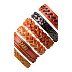 preiswerte Armbänder-Herrn Damen Wickelarmbänder Lederarmbänder - Leder Personalisiert, Böhmische Armbänder Orange Für Strasse Ausgehen