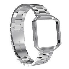 cheap Watch Accessories-Fitbit Blaze Bands with Metal FrameAustrake Stainless Steel Replacement Bands with Frame for Fitbit Blaze Smart Fitness Watch for Women Men-silver
