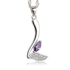 Жен. Ожерелья с подвесками Цирконий В форме листа Стерлинговое серебро Циркон Простой стиль Elegant Бижутерия Назначение Для вечеринок