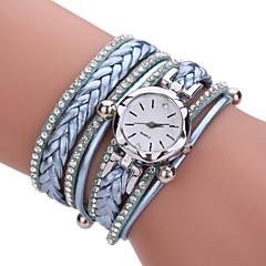 お買い得  レディース腕時計-女性用 クォーツ ダミー ダイアモンド 腕時計 ブレスレットウォッチ 中国 模造ダイヤモンド PU バンド カジュアル ボヘミアンスタイル Elegant ファッション ブラック 白 ブルー レッド ピンク ベージュ