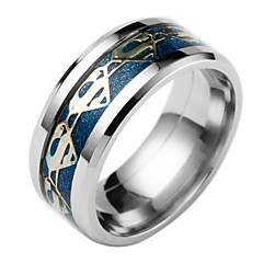 お買い得  指輪-男性用 バンドリング - チタン鋼 ファッション 6 / 7 / 8 ブラック / シルバー / ダークブルー 用途 日常