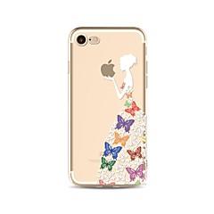 Недорогие Кейсы для iPhone X-Кейс для Назначение Apple iPhone X iPhone 8 Прозрачный С узором Кейс на заднюю панель Бабочка Соблазнительная девушка Мягкий ТПУ для