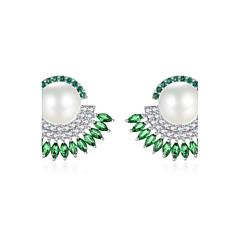 Dame Stangøreringe Dråbeøreringe Perle Lyserød Kvadratisk Zirconium Natur luksus smykker Kvadratisk Zirconium Geometrisk form Smykker Til