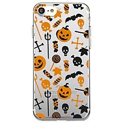 Недорогие Кейсы для iPhone X-Кейс для Назначение Apple iPhone X iPhone 8 Прозрачный С узором Кейс на заднюю панель Плитка Halloween Мультипликация Мягкий ТПУ для