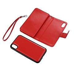 Назначение iPhone X Чехлы панели Кошелек Бумажник для карт со стендом Флип Задняя крышка Кейс для Сплошной цвет Твердый Искусственная кожа