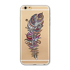 voordelige iPhone 4s / 4 hoesjes-hoesje Voor iPhone X iPhone 8 Transparant Patroon Achterkantje Veren Zacht TPU voor iPhone X iPhone 7s Plus iPhone 8 iPhone 7 Plus iPhone