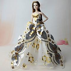 Vestidos Vestidos Para Boneca Barbie Dourado Vestidos Para Menina de Boneca de Brinquedo