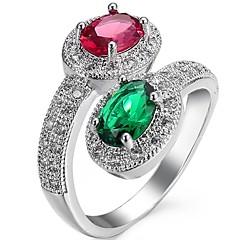 preiswerte Ringe-Damen Kubikzirkonia Knöchel-Ring / Verlobungsring - Zirkon 6 / 7 / 8 Grün / Blau Für Hochzeit / Party / Geburtstag