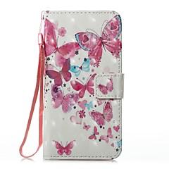 Кейс для Назначение Apple iPhone X iPhone 8 iPhone 8 Plus Кошелек Бумажник для карт со стендом Флип С узором Магнитный Чехол Бабочка