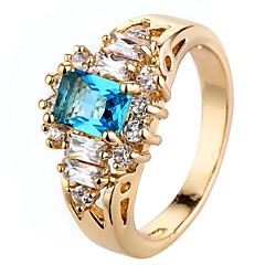 cheap -Men's Women's Knuckle Ring Engagement Ring Cubic Zirconia Fashion Luxury Classic Elegant Zircon Copper Square Jewelry For Wedding Party