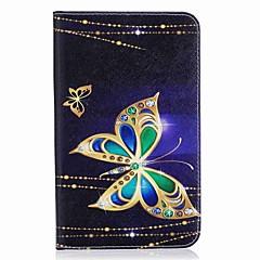 billige Tablett-etuier-Etui Til Samsung Galaxy Heldekkende etui Tablet Cases Sommerfugl Hard PU Leather til Tab A 7.0 (2016)