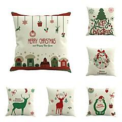 6 PC Algodón/Lino Cobertor de Cojín Funda de almohada,Novedad Moda Navidad Retro Tradicional/Clásico Euro Navidad