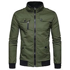 cheap Men's Jackets-Men's Daily Street chic Fall / Winter Regular Jacket, Solid Colored Stand Long Sleeve Polyester Navy Blue / Army Green / Khaki L / XL / XXL