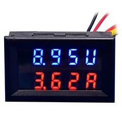 diy práctico dual 0.28 pulgadas 3 dígitos rojo azul llevó el medidor de corriente de voltaje de pantalla (dc 0 - 100v / 50a)