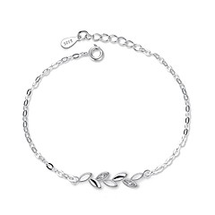 Women's Chain Bracelet Cubic Zirconia Cubic Zirconia Silver Plated Leaf Jewelry For Gift Daily