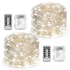 cheap LED Strip Lights-2Pack Fairy String Lights Battery Operated Waterproof 8 Modes 100LED 10M Copper Wire Firefly Lights Remote Control