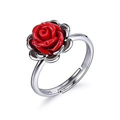 お買い得  指輪-女性用 婚約指輪  -  純銀製 フラワー エレガント 調整可 レッド 用途 誕生日 / 贈り物