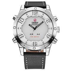 billige Tilbud på ure-OHSEN Herre Armbåndsur Modeur Afslappet Ur Japansk Quartz LCD Læder Bånd Luksus Afslappet Sej Sort