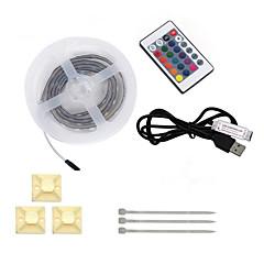 preiswerte LED Lichtstreifen-HKV 1m Flexible LED-Leuchtstreifen 60 LEDs 5050 SMD RGB Fernbedienungskontrolle / Schneidbar / Wasserfest 4.5 V 1set / IP65